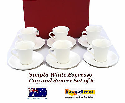 Milano Simply White Set Of 6 Espresso Coffee Cup And Saucer New In Box Rm0225