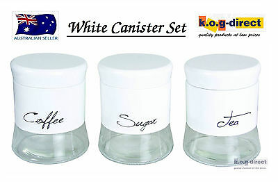 Set Of 3 Milano Canister Set Tea Coffee And Sugar White Round Brand New In Box
