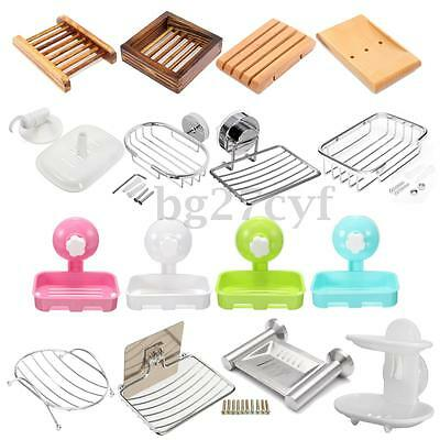 Wall Mount Soap Dish Tray Container Dispenser Box Holder Bathroom Shower Kitchen