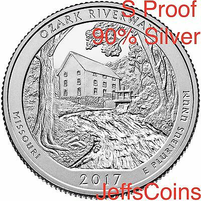 2017 S Ozark Riverways 90% SILVER Park Quarter Proof ATB U.S.Mint 25¢Missouri