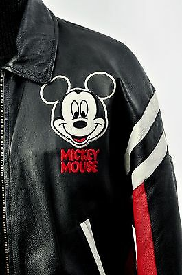 Mickey Mouse Leather Jacket Red Black & White Disneys Mickey Unlimited Sz Small