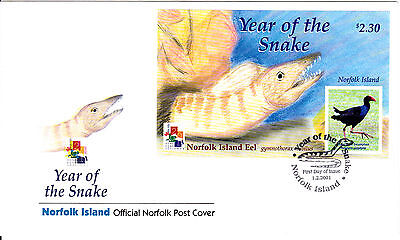 2001 - Norfolk Island - Year of the Snake - First day cover