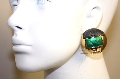Vintage Lanvin Paris Signed Rare Enameled Modernistic Green Couture Earrings