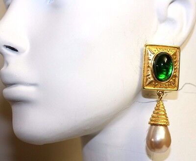 Vintage Carlisle Paris Signed Gripoix Cabochon Pearl Green Couture Earrings
