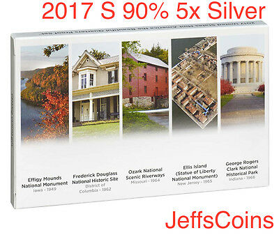 2017 S Silver Quarters Mint Proof 5x Set 90% Box COA Effigy George Rogers 17aq