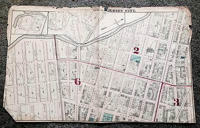 Rare 1873 Antique Map Jersey City New Jersey Nj Hudson County Atlas