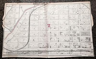 Rare 1873 Antique Map Jersey City New Jersey Nj Hudson County Atlas Plate F