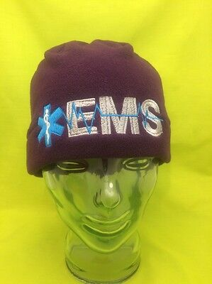Embroidered EMS Medical Star Of Life Purple Fleece Winter Beanie Cap Hat