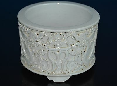 Fine Antique Chinese Blanc De Chine Porcelain Brush Washer Marked Wang Bingrong