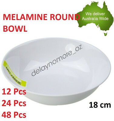 Melamine Round Bowl Salad Birthday Party Dinner White Cafe Snack large Dish NEW