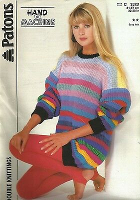 vintage patons 3323 hand or machine knit DK womens jumper