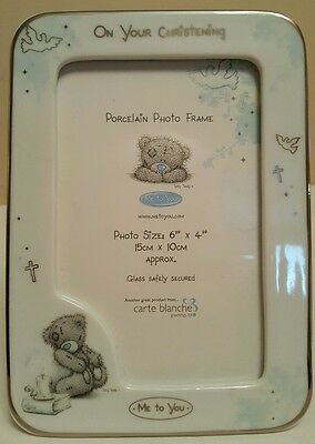 "TATTY TEDDY 'ME TO YOU' PORCELAIN CHRISTENING PHOTO FRAME ~ 6"" x 4"""