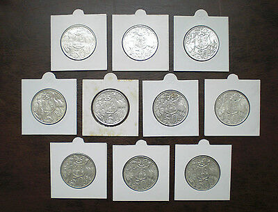 10 x AUSTRALIAN SILVER 1966 ROUND 50 CENT COINS IN 2 x 2 HOLDERS - HIGH GRADE