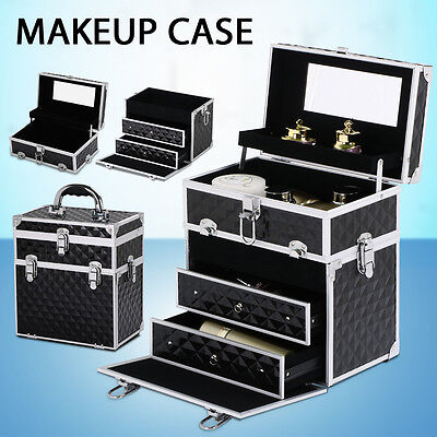 Portable Cosmetics Beauty Case Makeup Box Carry Bag Organiser Trolley w/Drawer