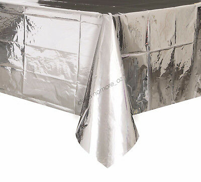 Wedding Party Metallic Silver Tablecover Table Cover Cloth Plastic Tablecloth
