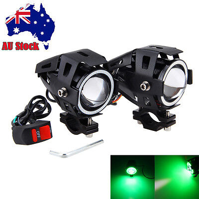 3000LM 2x U7 125W GREEN LED Motorcycle Spot Driving Fog Light For BMW AU Stock