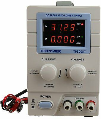 Tekpower TP3005T Variable Linear DC Power Supply, 0 - 30V @ 0 - 5A with Cable
