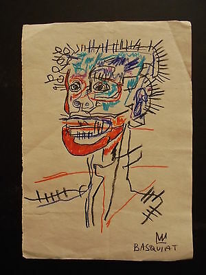 Jean Michel Basquiat --  Drawing On Paper Signed  /  Private Collection ---
