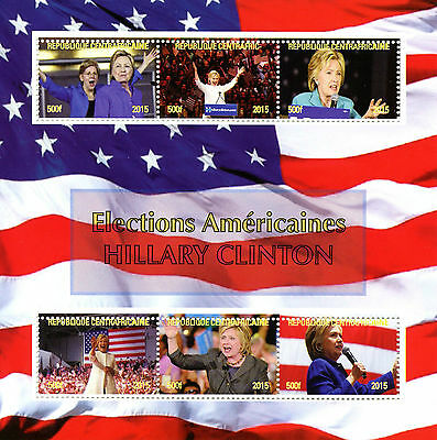 Central African Rep 2015 MNH Hillary Clinton US Elections 6v M/S Stamps