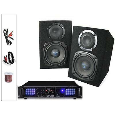 "Hi-Fi 5"" Pair 220W Home Speakers Amplifier Stereo Set Sd Fm Tuner Mp3 Usb Amp"
