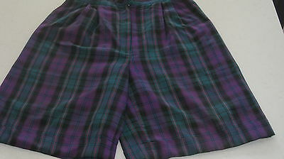 Golf Shorts 'born To Play' Side Pockets High Waist Classic Cuffed Size 12