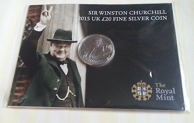 2015 Sir Winston Churchill £20 Solid Fine Silver Coin, Royal Mint, New - Wow!