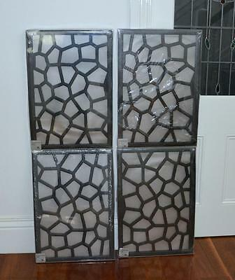 New 4 Wooden timber PANELS fence screen GLEN IRIS wall hanging carved garden