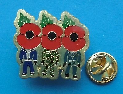 Three Forces (Navy, Army, Air Force) Poppy Badge