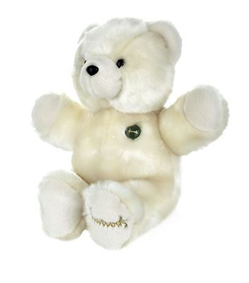 Harrods Green Button Limited Edition Large Fuzzy Teddy Bear - Ivory / Cream