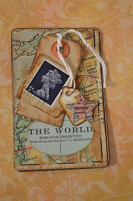 The World - An Altered Playing Card, Mixed Media Collage, Ooak