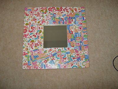 Decoupage colourful mirror. Girl. Valentines gift for her.