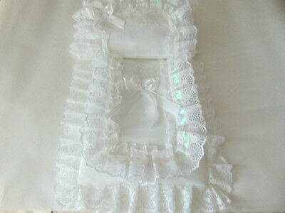 Dolls Pram Set Cover Pillow In White And Iridescent Shimmer Ribbon Hand Made