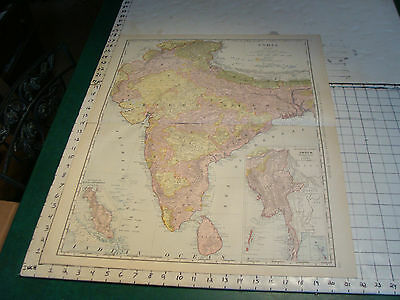 Vintage Original 1898 Rand McNally Map: INDIA, 28 x 21""