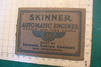 vintage SKINNER AUTOMATIC ENGINES center and side crank Erie Pa. 1914 CATALOG