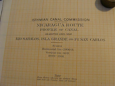 Early 1900's Orig chart ISTHMIAN CANAL: NICARAGUA ROUTE plate 49a PROFILE 2a