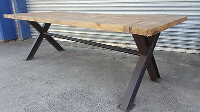 New French Industrial Recycled Vintage Rustic Timber Dining Table - 2.5M