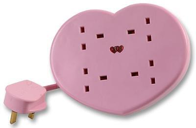 2M Girly Pink Heart Shaped 4 gang socket Extension Lead with removable stand