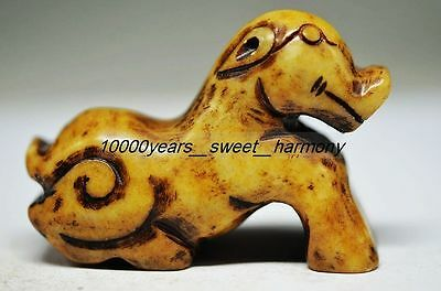 Ancient Chinese Old Jade Carved Out Dog Statue Hongshan Culture G8