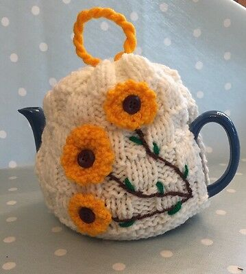 Hand knitted Vintage Sunflower tea cosy