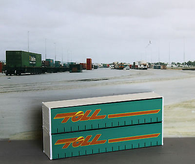 Two TOLL 40ft green, simulated curtainside, containers in HO scale - new