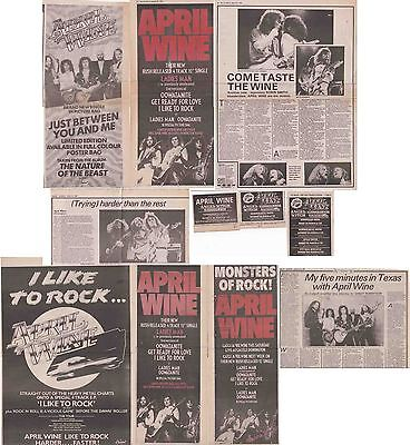 APRIL WINE : CUTTINGS COLLECTION -1980- adverts interviews