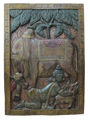 Antique Wall Decor Krishna Playing With His Calf Hand Carved Wooden Door Panel