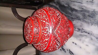 Vintage carved red Chinese pot