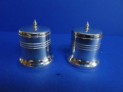 Stylish pair Art Deco Silver plate Salt pots. Coventry Silversmiths
