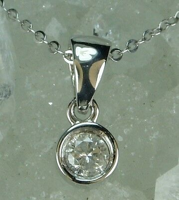 NEW Genuine Solid 9CT White Gold, 0.10 Carat Natural Diamond Pendant with Chain