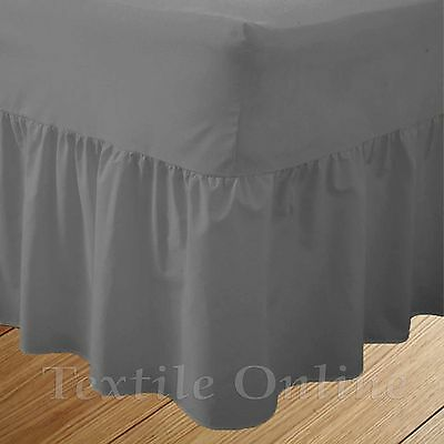 Plain Dyed Fitted Valance Sheet Poly-Cotton Bed Sheet (Silver) Double Size