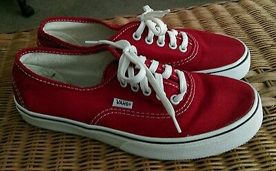 Vans Classic Authentic Red Womens Lowtop Trainers Sneakers - EU 38 - UK size 5