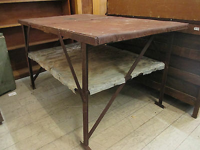 OLD Rustic Metal Frame Work bench Kitchen Island 2 Tier Table Farmhouse