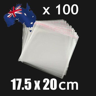 100pcs Self Adhesive Seal Cellophane Resealable Clear Plastic Bags 17.5 x20cm