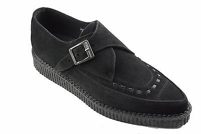 Steel Ground Shoes Black Suede Creepers Monk Buckle Pointed Sc200Z4